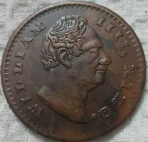 1818-William-IIII-2-two-anna-east-india-company-rare-palm-size-temple-coin
