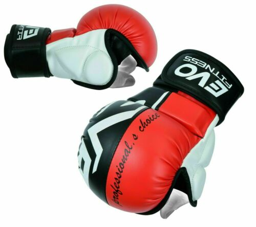 EVO Leather MMA Gloves Kick Boxing Quick Wrap Sparring Grappling Cage Fighting