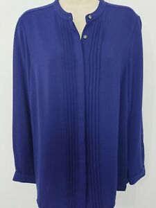 Viyella-Violet-Blue-Pin-Tuck-Pleat-Collarless-Smart-Shirt-Blouse-Size-12-BNWT