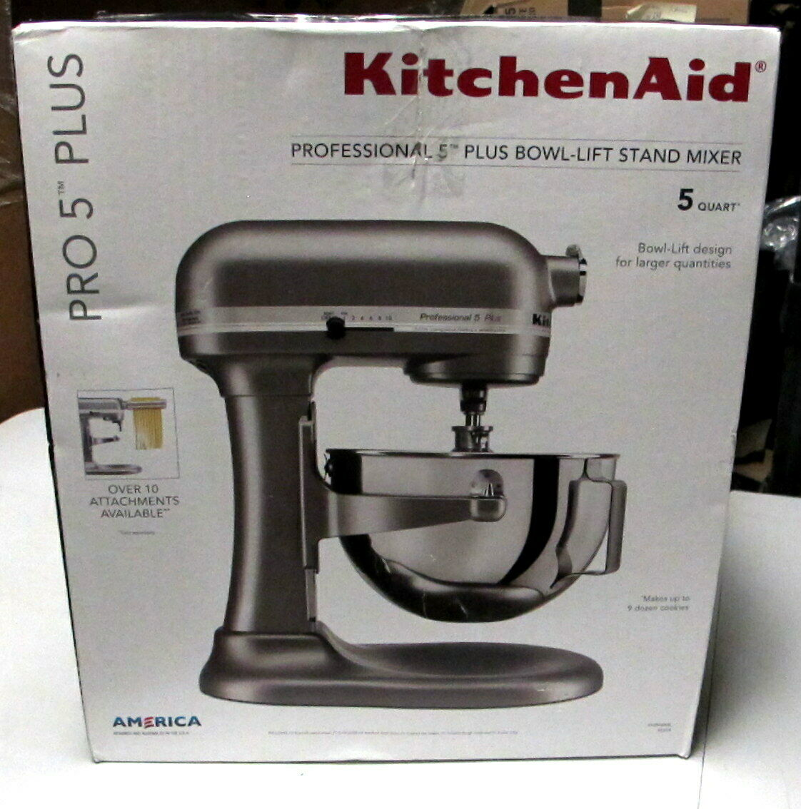 KitchenAid Pro 5 plus 5-Qt bol-Lift Stand Mixer Argent KV25G0XSL Unit 1