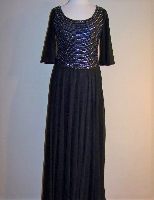 JKARA 6, 10 schwarz Beaded & Embellished Long Gown or Dress NWT