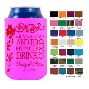 Details About 250 Custom Personalized Koozies Wedding Birthday Party Favor Promotional Bulk