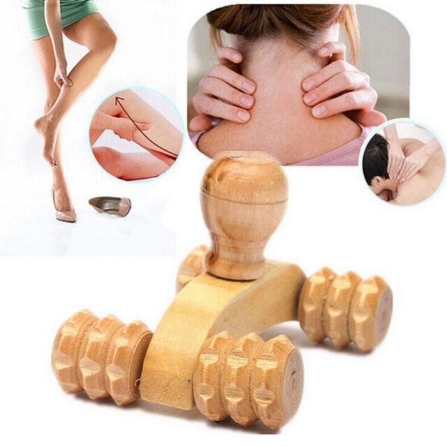 Wooden Car Roller Massage Reflexology Hand Foot Back Body Therapy Relax Gifts NL