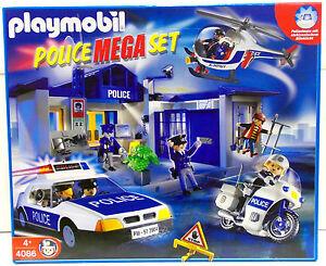 POLIZEI MEGA SET POLICE Playmobil 4086 v.`05 zu USA Auto Helicopter OVP NEU RAR