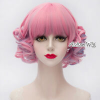 Lolita 30CM Short Pink Mixed Blue Curly Cosplay Party Heat Resistant Full Wig