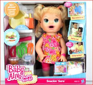 Baby Alive Super Snacks Snackin Sara Doll Poops Talks