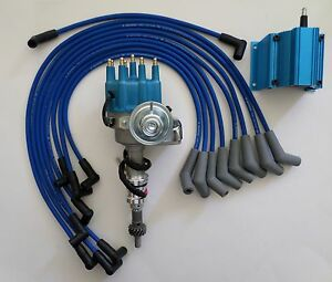 details about small block ford 289-302 blue small cap hei distributor, coil  + spark plug wires