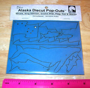 Alaska-Scrapbook-Die-cut-Pop-outs-made-of-Blue-Matboard-Flag-Whale-cruise