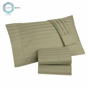 AURAA Comfort 500TC Long Staple Cotton Standard Pillowcase, Damask Stripe, 2 Pk
