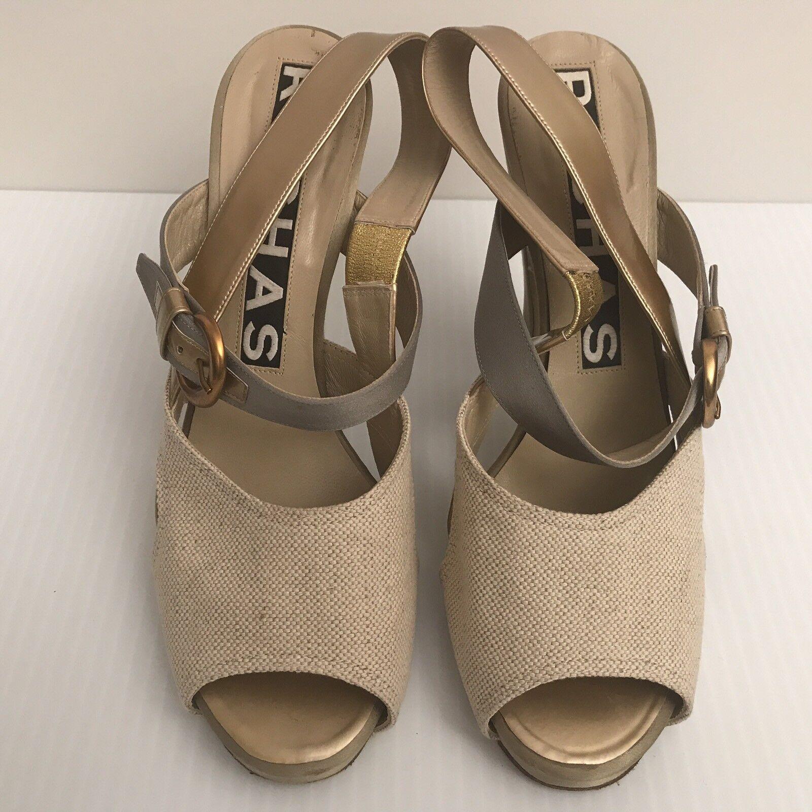 ROCHAS Peep-Toe Linen Leather Slingback Sandal shoes ITALY Size 40 Retail -  995