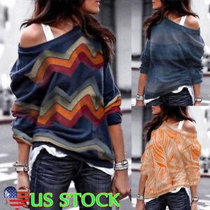 Women-Cold-Shoulder-Boho-T-Shirt-Tops-Long-Sleeve-Jumper-Sweater-Pullover-Blouse