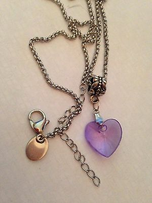 (h88) Pendant Purple Crystal Heart Sterling Silver Plated Necklace Long Chain Spezieller Kauf