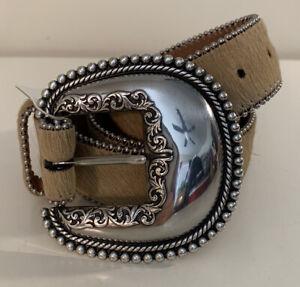 NWT TONY LAMA Men's  Western Hair Big Silver Buckle Belt Size 38