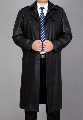 Homme Coupe-vent Manteaux formel d/'hiver en cuir synthétique Pleine Longueur Long Trench Parka