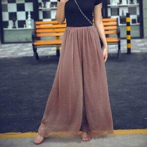 Palazzo-maxi-trousers-loose-flared-chiffon-harem-casual-pants-wide-leg-Women