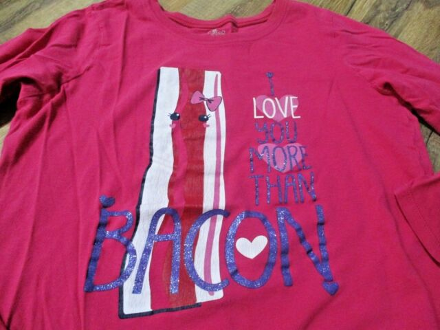 0b8169ac7 the children's place pink bacon love glitter graphic tee size 14 XL girl