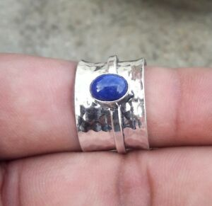 Solid-925-Sterling-Silver-Spinner-Ring-Statement-Ring-Size-Lapis-Lazuli-sr2222