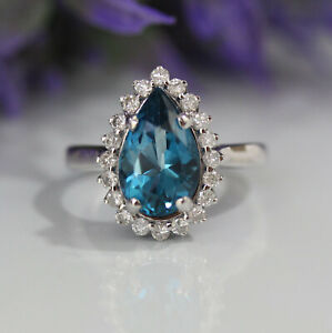 4-5ct-Natural-London-Blue-Topaz-amp-Diamonds-14k-White-Gold-Luxury-Cocktail-Ring