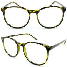 Tall Round Tortoiseshell Retro Frame Women's Men Clear Lens Glasses 50s Circle
