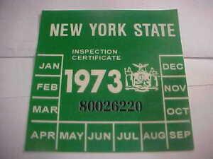 Image is loading new-york-1973-inspection-sticker-windshild