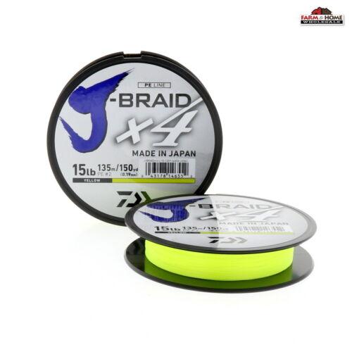 2 Daiwa J-Braid X4 Braided Fishing Line 150yds 15lb Yellow ~ New