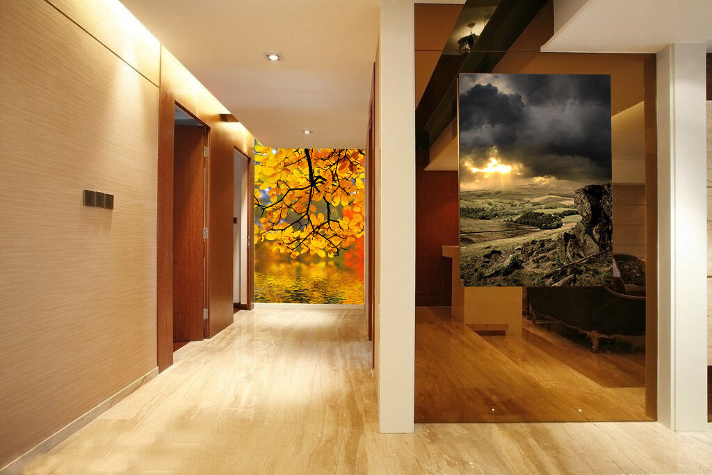 3D golden autumn leave1 WallPaper Murals Wall Print Decal Wall Deco AJ WALLPAPER