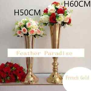 Tall Vase Gold Trumpet Vases Polished Metal Wedding Centerpieces Vases 24 Inches Ebay
