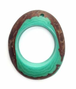 Tagua Anhänger Ring aqua 30-50mm 1 Stück poliert Naturperlen Schmuck Steinnuss