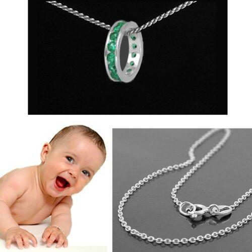 Patengeschenk Jungen Mädchen grün Memoire Zirkonia Taufring Silber 925 mit Kette