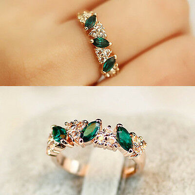 Best Luxury Women Ladies Emerald Rhinestone Crystal Finger Dazzling Ring Jewelry