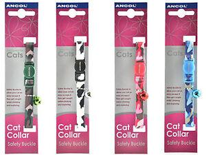 Ancol Camouflage Chat Chaton Collier Avec Boucle Sécurité Bell Noir Bleu Rose Vert-afficher Le Titre D'origine