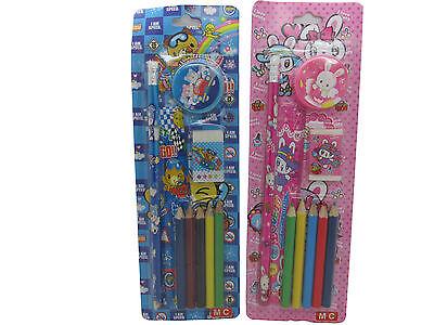 12x Buntstifte Schreib Set für Kinder Radiergummi Mitgebsel Kindergeburtstag