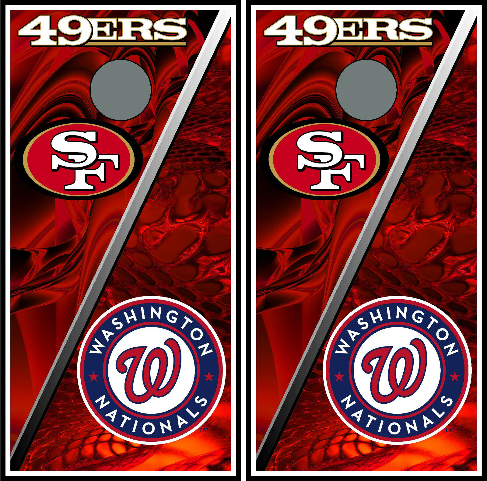 San Francisco 49ers & wash.  capitals split 0207 cornhole board vinyl wraps skins  enjoy saving 30-50% off