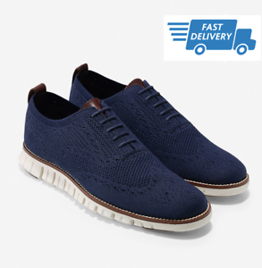 COLE-HAAN-ZEROGRAND-Wingtip-Oxford-with-Stitchlite-BLUE-Men-039-s-Shoes-C24947-NEW