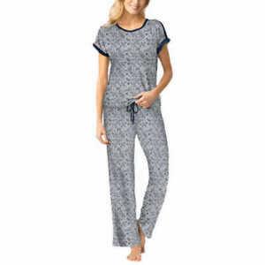 New Women S Grey Navy Lucky Brand 3 Piece Pajama Set Size Xs X Small 194546044441 Ebay