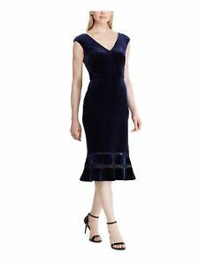 RALPH LAUREN Womens Navy Cap Sleeve V Neck Midi Sheath Evening Dress Size: 10