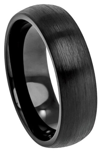 Cobalt Ring Men Women Wedding Band Black Enamel Classic Domed Brushed 6mm