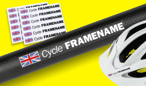 CYCLE BIKE FRAME HELMET personalised name Decal Stickers SET OF 12 with flag