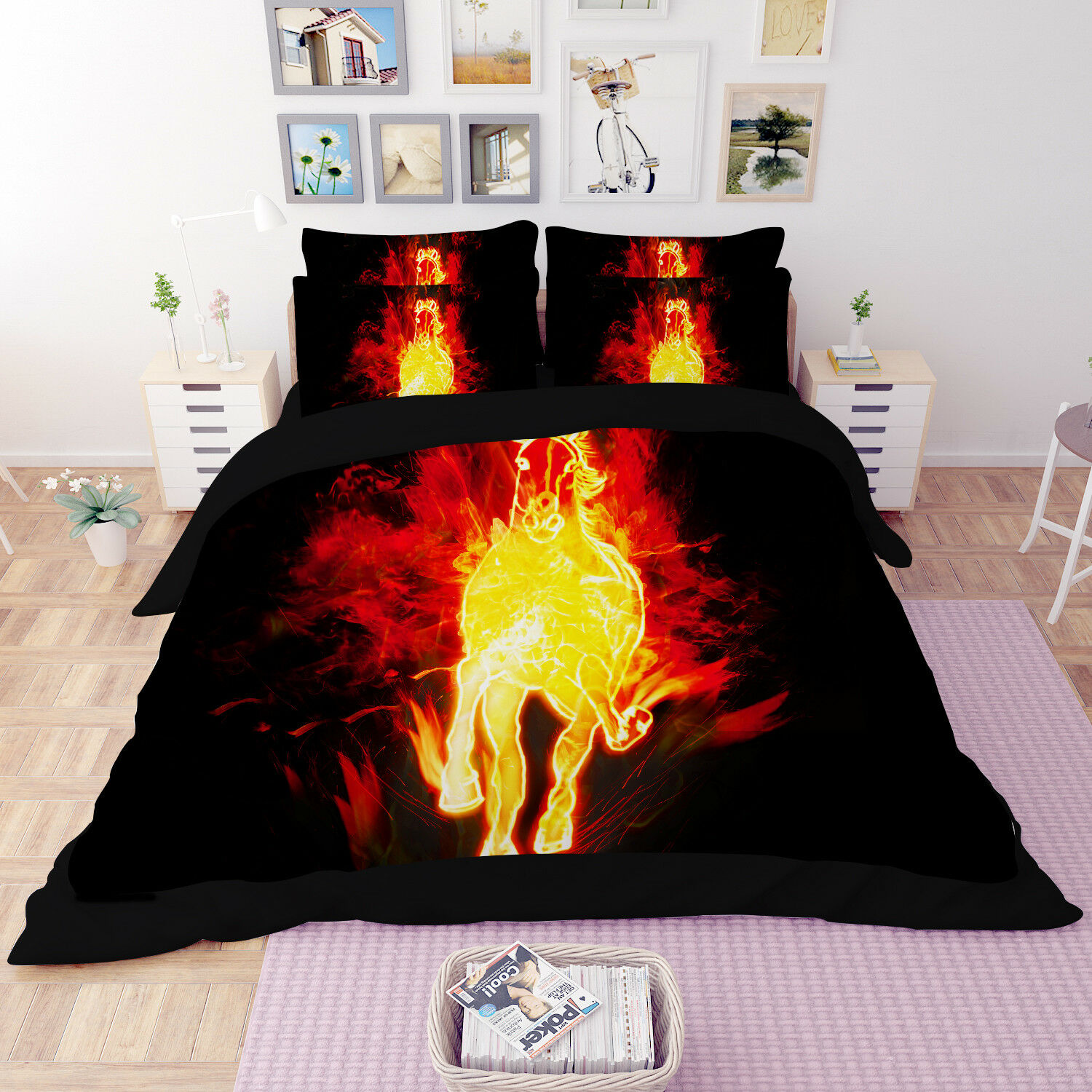 3D Flame Horse Kid 97 Bed Pillowcases Quilt Duvet Cover Set Single Queen King CA