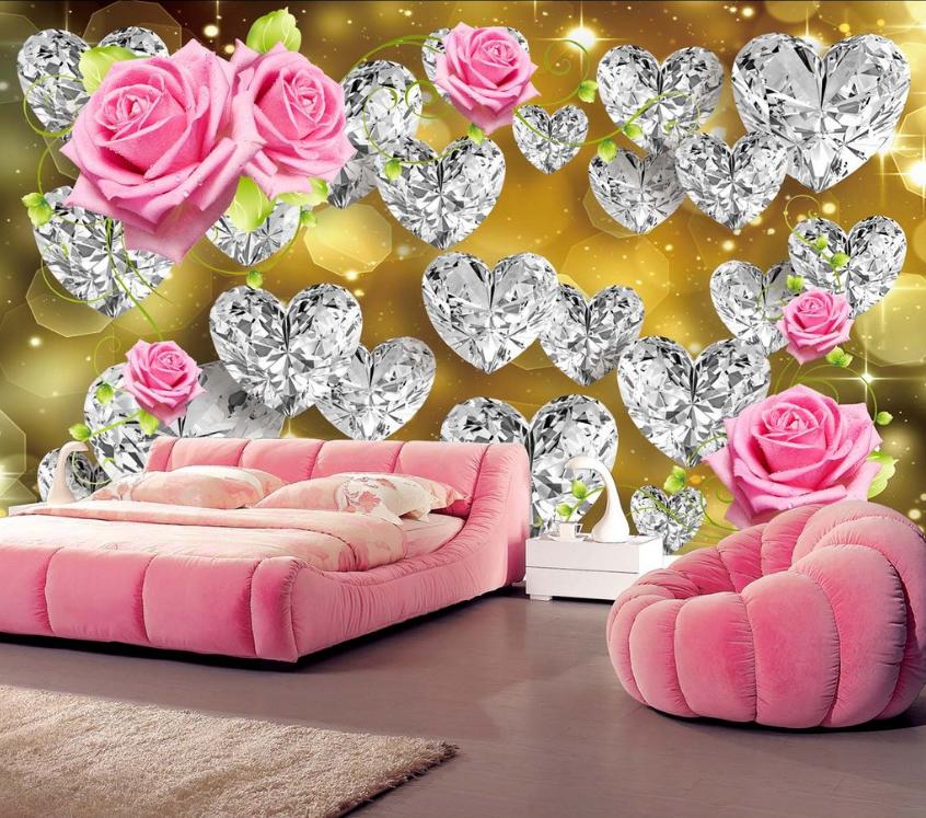 3D Kristall Liebe Blumen 46 Tapete Tapeten Mauer Foto Familie Tapete Wandgemälde