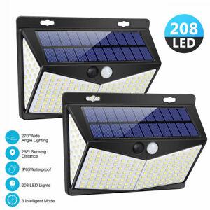 208 LED PIR Motion Sensor Wall Lights Solar Power Waterproof Outdoor Garden Lamp