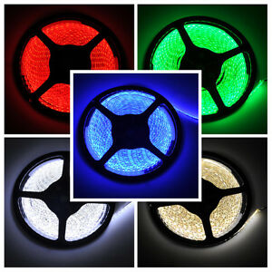 16Ft 5M 300 LED Strip Light 3528 SMD RGB Ribbon Tape Roll Waterproof IP65 DC 12V