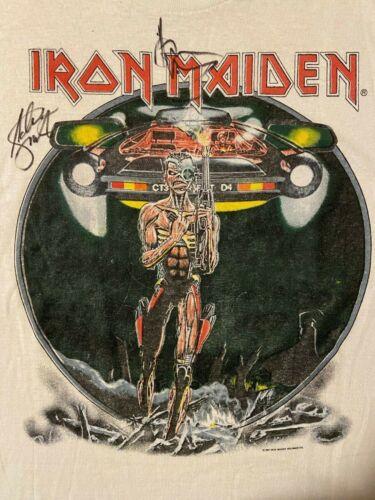 Vintage 80s 1987 Iron Maiden AUTOGRAPHED Concert T