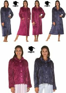 Lady Olga Soft Feel Embossed Fleece Zip Gown, Button Dressing Gown or Bed Jacket