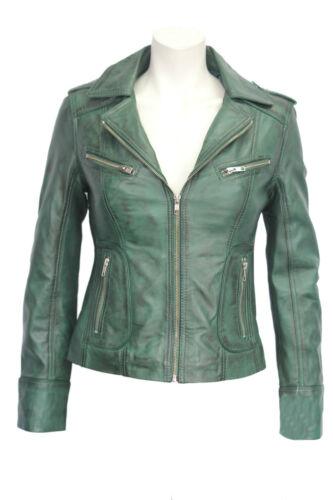 en Ladies Retro Kelly Women's Green Fashion Model Designer Nouveau Veste cuir souple SzjqGUMLVp
