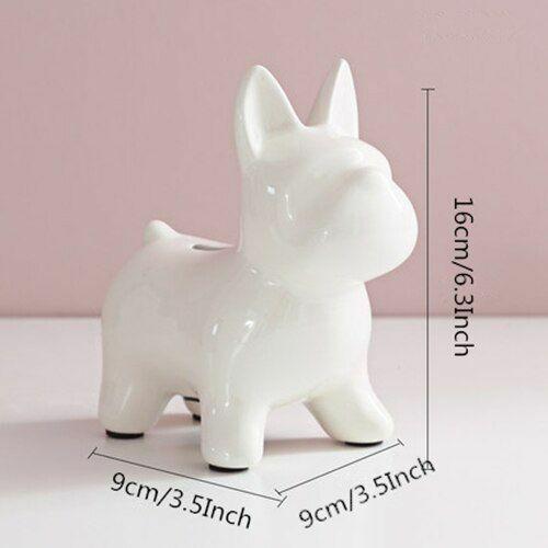 Ceramic Dog Figurines Puppy Piggy Bank Craft TV Cabinet Indoor Living Room Decor