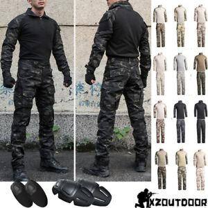 Army Military Tactical Mens Combat Jacket Pants Sets SWAT BDU Uniform Camouflage