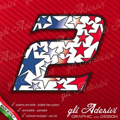 Adesivo Stickers NUMERO 2 moto auto cross gara STAR Blu /& Rosso