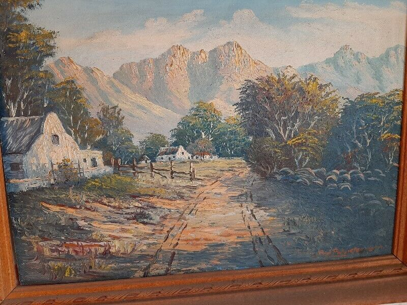 Oil Painting of Cape Homestead and Mountains - Negotiable