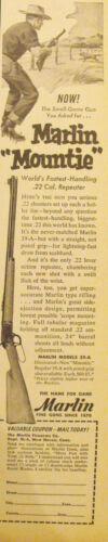 1953 Marlin Mountie 22 Rifle~Small Game Gun Hunting Vintage Firearms Print AD